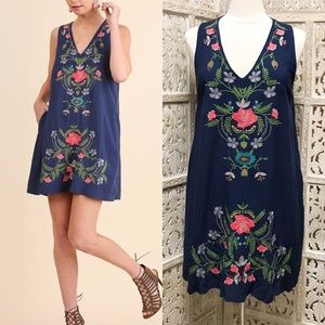 Embroidered Floral Shift Dress